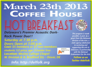 We'll be at the Delaware Friends of Folk on 3/23! Woot!